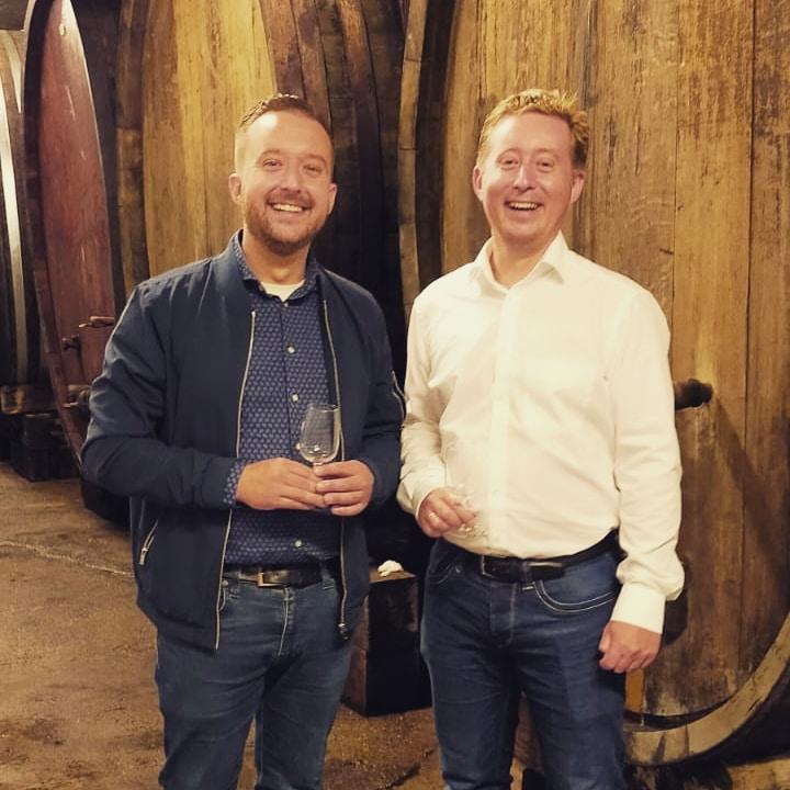 Erwin en Jurgen in de wijnkelder van Alphonse Kuentz